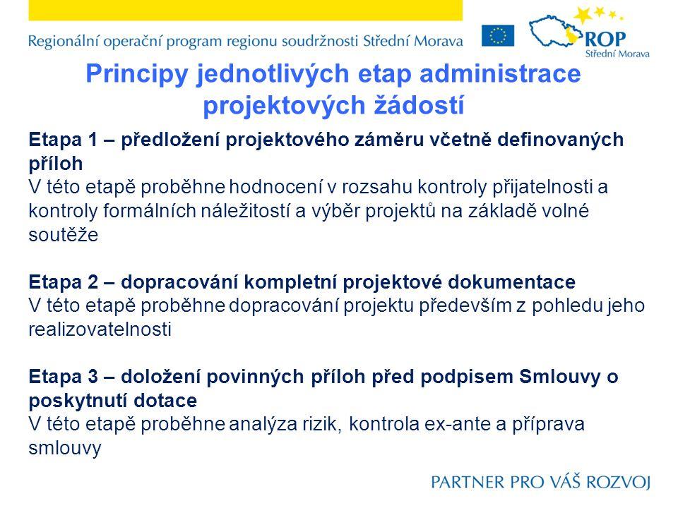 Principy jednotlivých etap administrace projektových žádostí Etapa 1 – předložení projektového záměru včetně definovaných příloh V této etapě proběhne