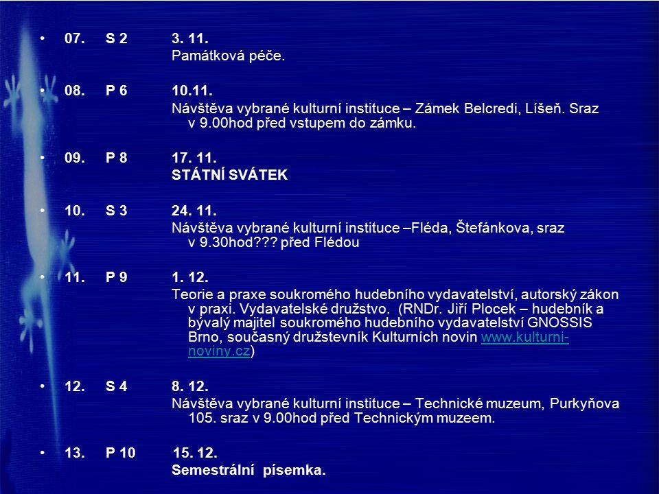 07.S 23. 11. Památková péče. 08.P 610.11.