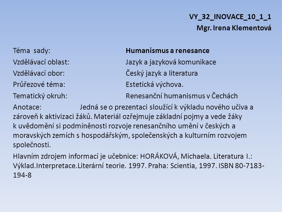 VY_32_INOVACE_10_1_1 Mgr.
