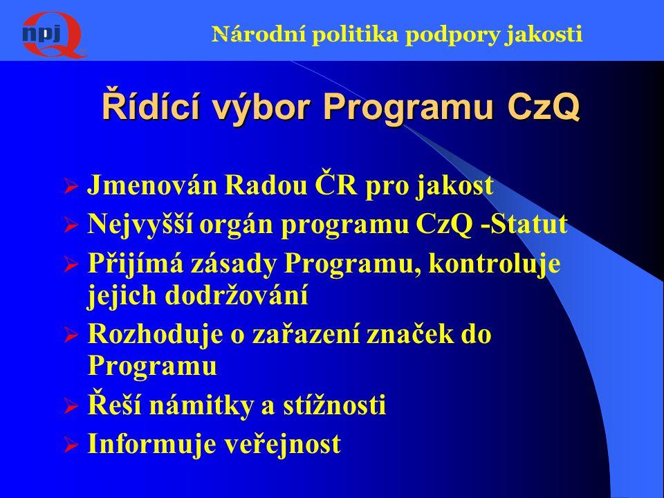 Národní politika podpory jakosti CzQ – účastníci systému  Rada ČR pro jakost – řízení Programu, vytváření předpokladů pro jeho realizaci  Řídící výb