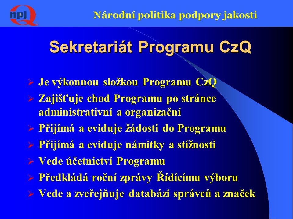 Národní politika podpory jakosti Řídící výbor Programu CzQ  Jmenován Radou ČR pro jakost  Nejvyšší orgán programu CzQ -Statut  Přijímá zásady Programu, kontroluje jejich dodržování  Rozhoduje o zařazení značek do Programu  Řeší námitky a stížnosti  Informuje veřejnost