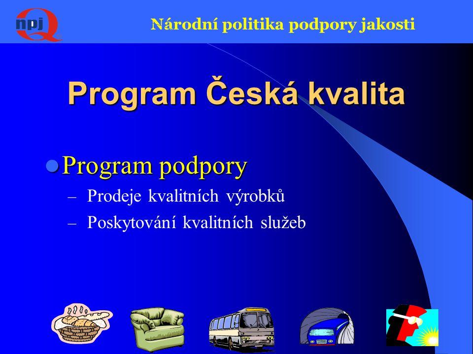 Národní politika podpory jakosti Program Česká kvalita Program podpory Program podpory – Prodeje kvalitních výrobků – Poskytování kvalitních služeb