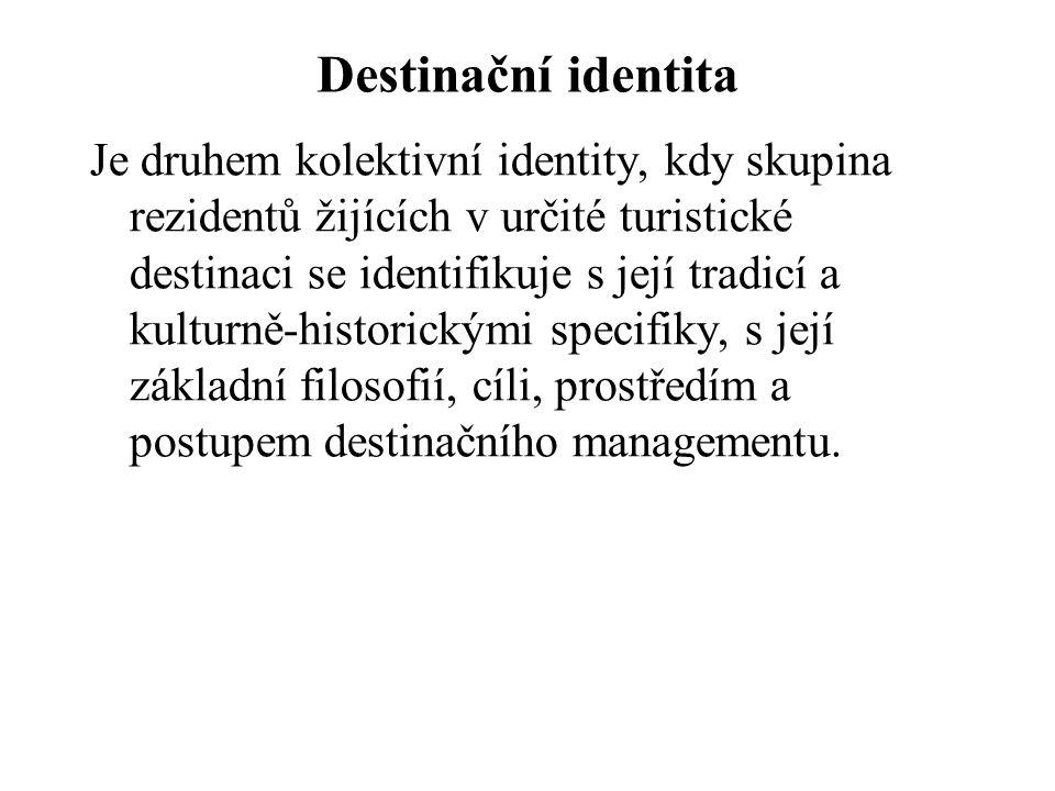 Destinační identita Je druhem kolektivní identity, kdy skupina rezidentů žijících v určité turistické destinaci se identifikuje s její tradicí a kulturně-historickými specifiky, s její základní filosofií, cíli, prostředím a postupem destinačního managementu.