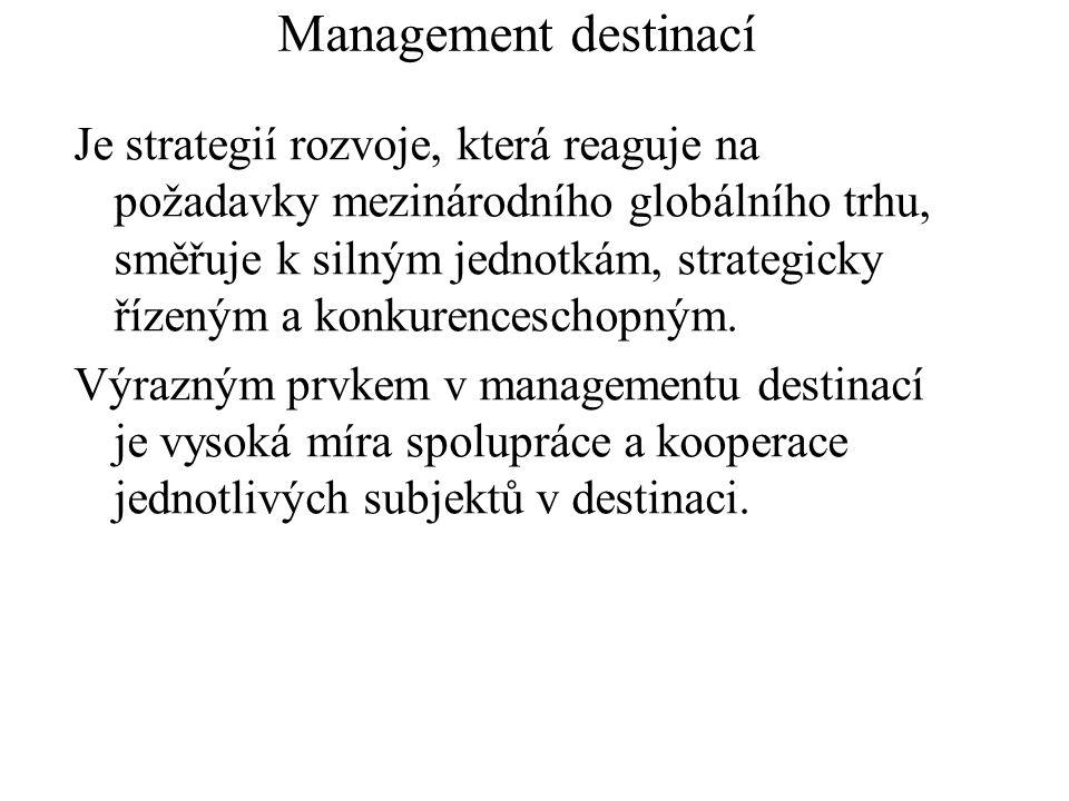 Management destinací Je strategií rozvoje, která reaguje na požadavky mezinárodního globálního trhu, směřuje k silným jednotkám, strategicky řízeným a konkurenceschopným.