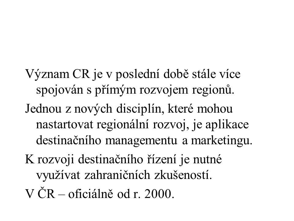 Význam CR je v poslední době stále více spojován s přímým rozvojem regionů.