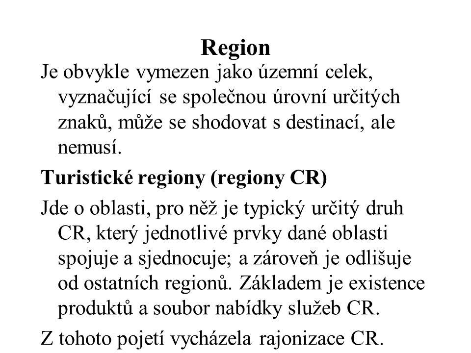 Region Je obvykle vymezen jako územní celek, vyznačující se společnou úrovní určitých znaků, může se shodovat s destinací, ale nemusí.