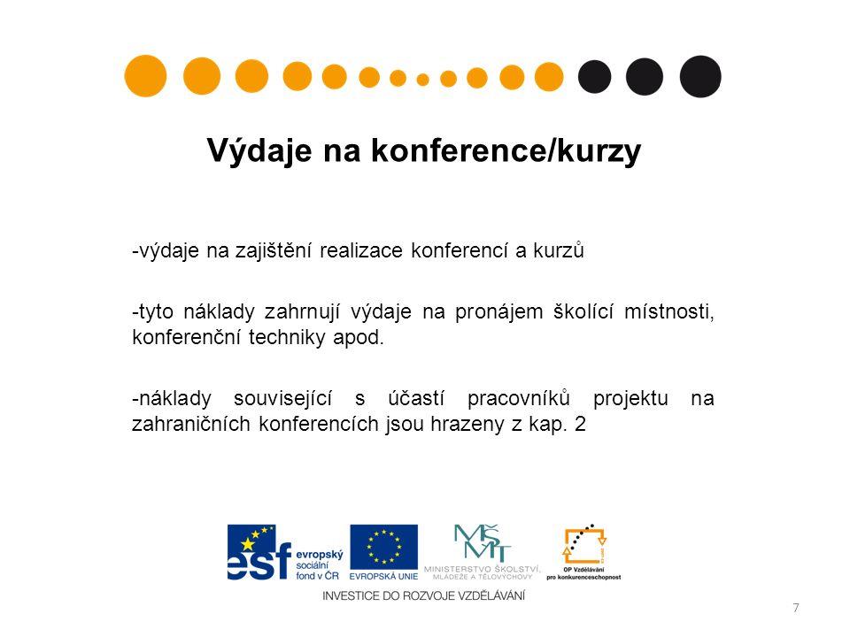 Výdaje na konference/kurzy -výdaje na zajištění realizace konferencí a kurzů -tyto náklady zahrnují výdaje na pronájem školící místnosti, konferenční techniky apod.