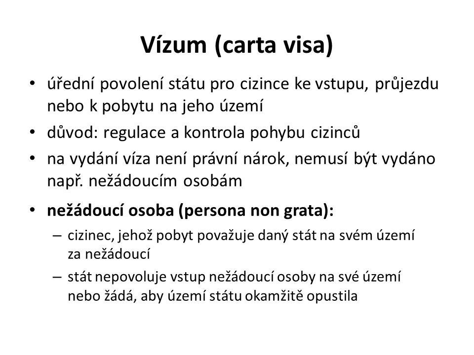 Vízum (carta visa) úřední povolení státu pro cizince ke vstupu, průjezdu nebo k pobytu na jeho území důvod: regulace a kontrola pohybu cizinců na vydá