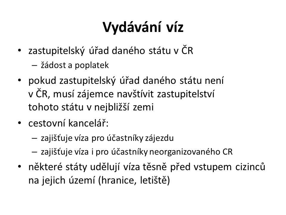 Vydávání víz zastupitelský úřad daného státu v ČR – žádost a poplatek pokud zastupitelský úřad daného státu není v ČR, musí zájemce navštívit zastupit