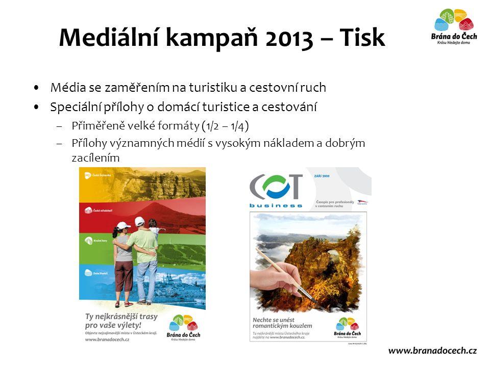 Média se zaměřením na turistiku a cestovní ruch Speciální přílohy o domácí turistice a cestování –Přiměřeně velké formáty (1/2 – 1/4) –Přílohy významných médií s vysokým nákladem a dobrým zacílením Mediální kampaň 2013 – Tisk