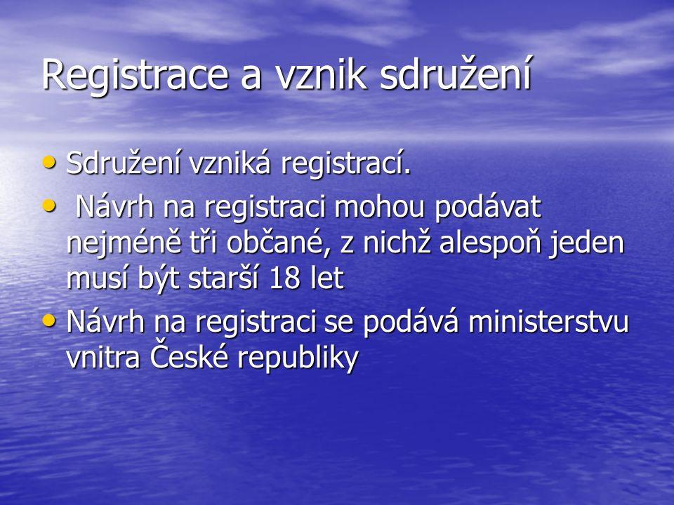 Registrace a vznik sdružení Sdružení vzniká registrací.