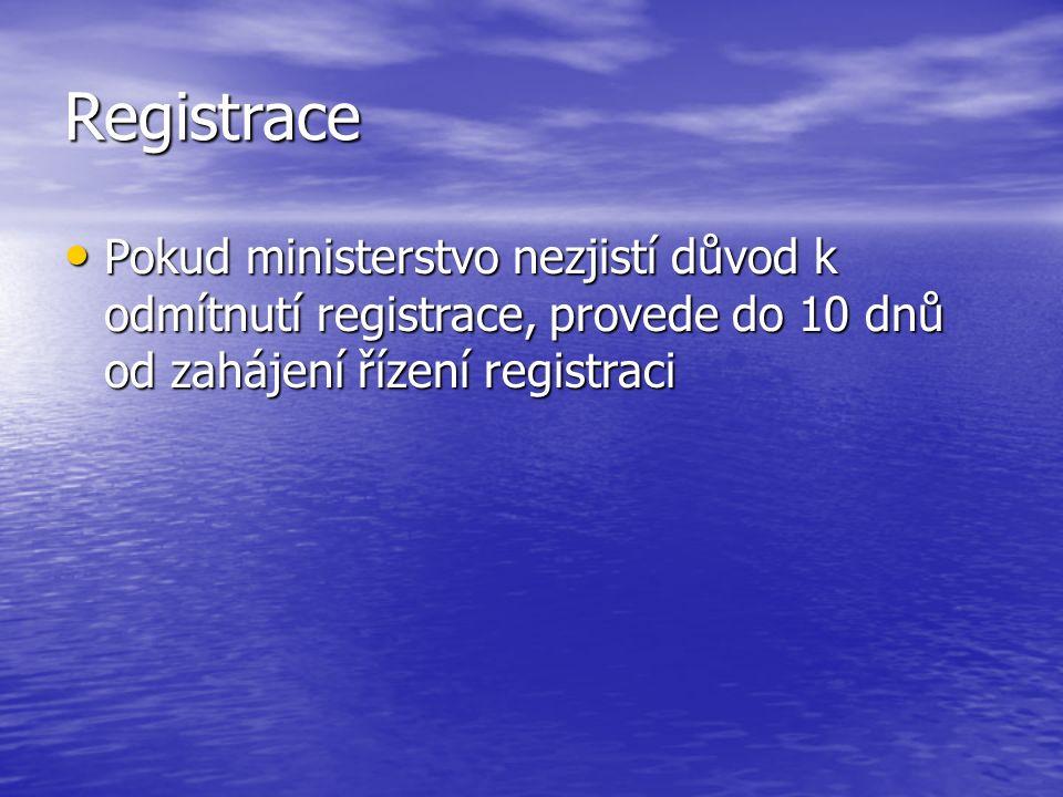 Registrace Pokud ministerstvo nezjistí důvod k odmítnutí registrace, provede do 10 dnů od zahájení řízení registraci Pokud ministerstvo nezjistí důvod k odmítnutí registrace, provede do 10 dnů od zahájení řízení registraci