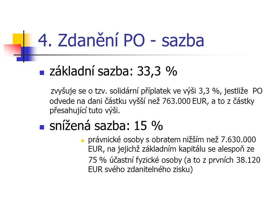 4. Zdanění PO - sazba základní sazba: 33,3 % zvyšuje se o tzv.