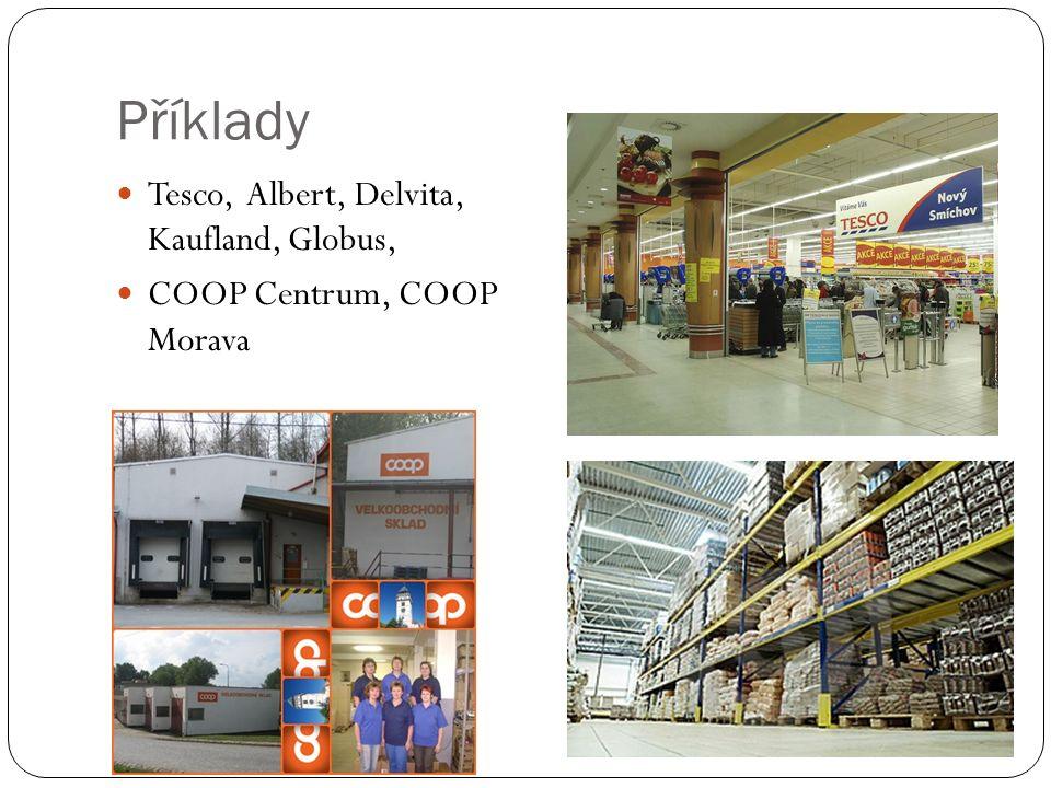 Příklady Tesco, Albert, Delvita, Kaufland, Globus, COOP Centrum, COOP Morava