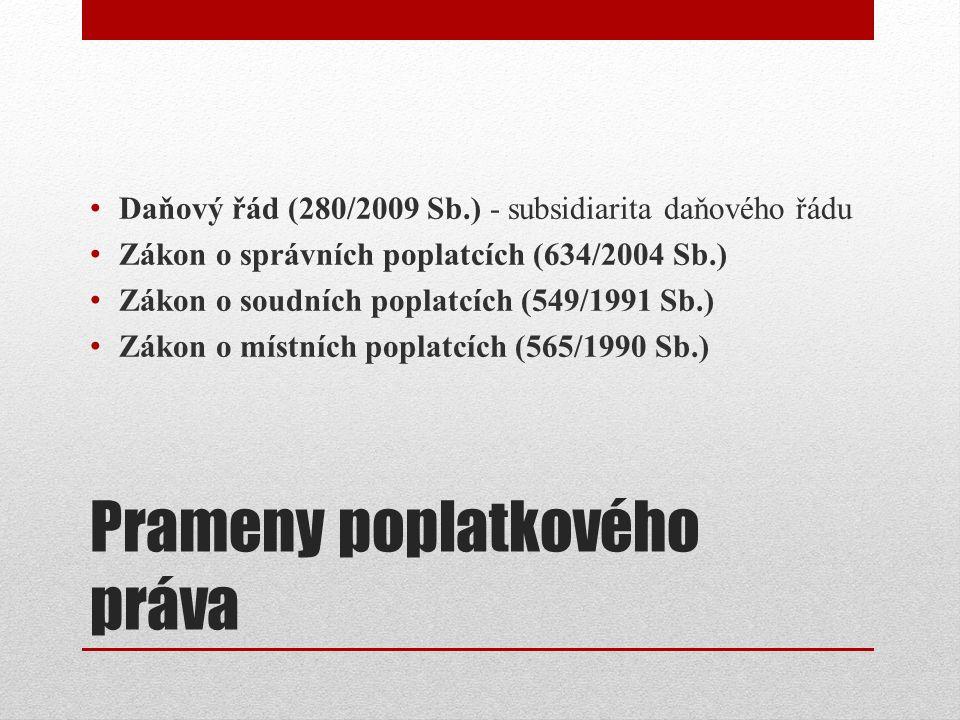 Prameny poplatkového práva Daňový řád (280/2009 Sb.) - subsidiarita daňového řádu Zákon o správních poplatcích (634/2004 Sb.) Zákon o soudních poplatcích (549/1991 Sb.) Zákon o místních poplatcích (565/1990 Sb.)