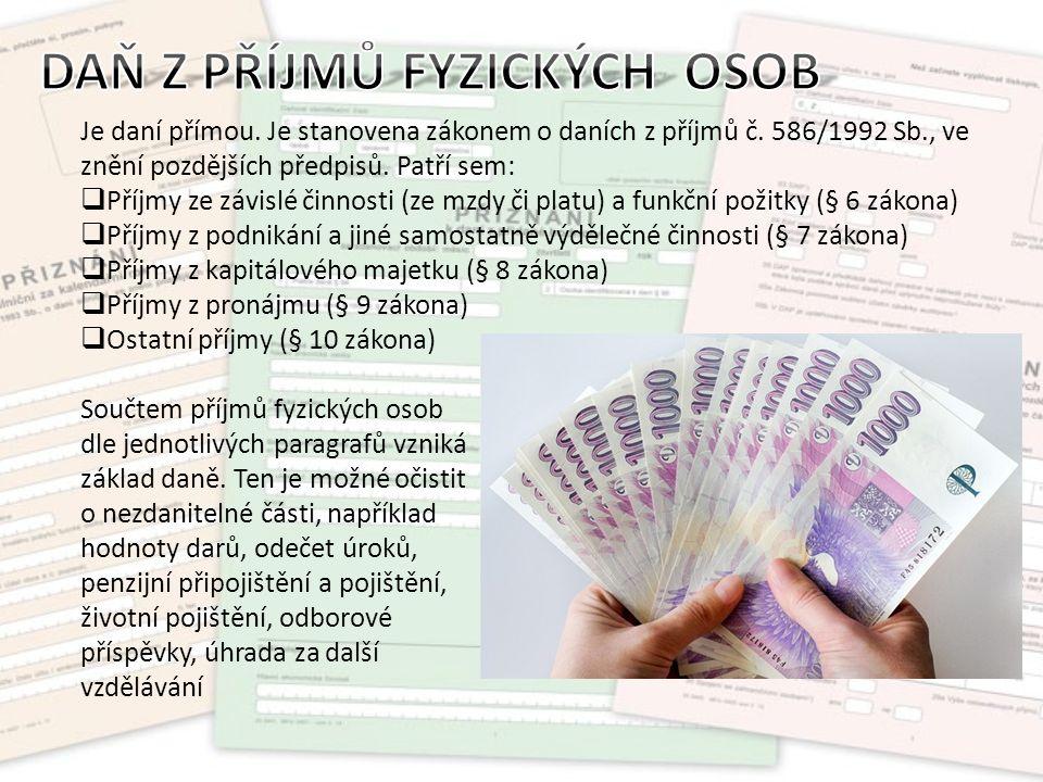 Je daní přímou. Je stanovena zákonem o daních z příjmů č.