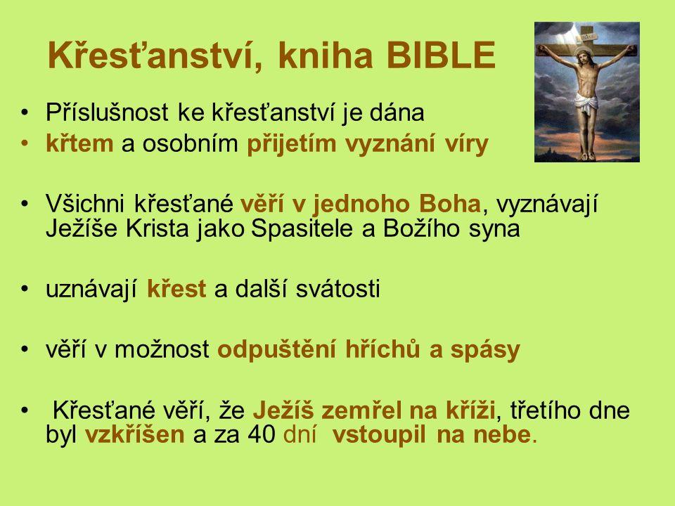 Křesťanství, kniha BIBLE Příslušnost ke křesťanství je dána křtem a osobním přijetím vyznání víry Všichni křesťané věří v jednoho Boha, vyznávají Ježíše Krista jako Spasitele a Božího syna uznávají křest a další svátosti věří v možnost odpuštění hříchů a spásy Křesťané věří, že Ježíš zemřel na kříži, třetího dne byl vzkříšen a za 40 dní vstoupil na nebe.