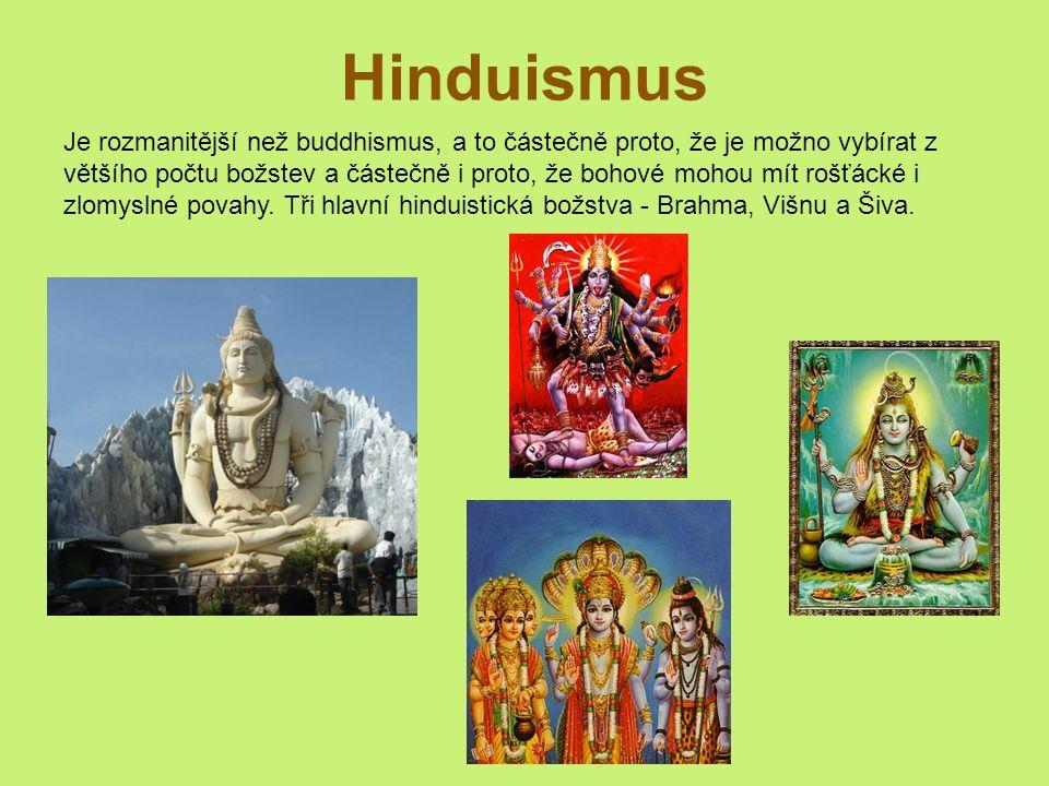 Hinduismus Je rozmanitější než buddhismus, a to částečně proto, že je možno vybírat z většího počtu božstev a částečně i proto, že bohové mohou mít rošťácké i zlomyslné povahy.