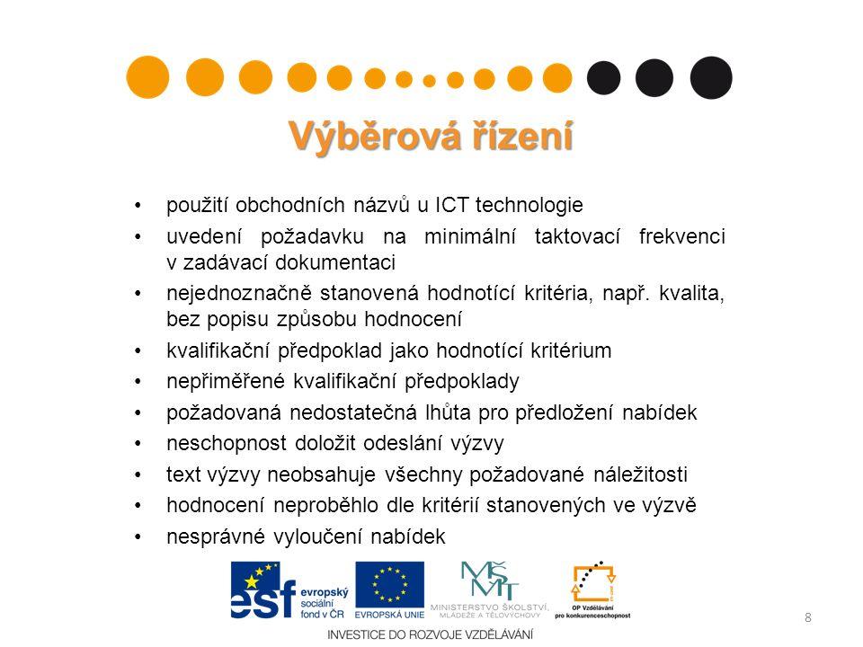 Výběrová řízení použití obchodních názvů u ICT technologie uvedení požadavku na minimální taktovací frekvenci v zadávací dokumentaci nejednoznačně stanovená hodnotící kritéria, např.