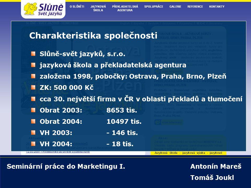 5.4.2007 Marketing I - seminární práce snímek 22/27 www.slune.cz Marketingová strategie současná propagace: www.slune.cz placené odkazy na: www.seznam.cz, www.centrum.cz, www.edb.cz, www.zlatestranky.czwww.seznam.czwww.centrum.czwww.edb.czwww.zlatestranky.cz www.jazykovky.cz, www.jazykove-skoly.cz apod.www.jazykovky.czwww.jazykove-skoly.cz partnerské weby: www.ppagency.cz, www.vzdelani.cz, www.morava24.cz apod.www.ppagency.czwww.vzdelani.czwww.morava24.cz tisk MF Dnes, Hospodářské noviny, Ekonom, Profit, Euro letáky v tramvajích v Ostravě a Brně sponzoring plesů, direct mailing, letáčky do inform.