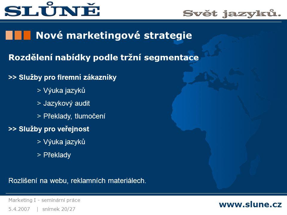 5.4.2007 Marketing I - seminární práce snímek 20/27 www.slune.cz Nové marketingové strategie Rozdělení nabídky podle tržní segmentace >> Služby pro firemní zákazníky > Výuka jazyků > Jazykový audit > Překlady, tlumočení >> Služby pro veřejnost > Výuka jazyků > Překlady Rozlišení na webu, reklamních materiálech.