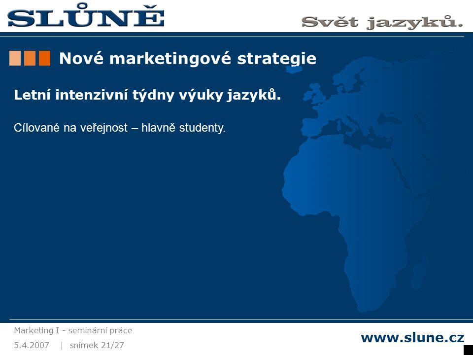 5.4.2007 Marketing I - seminární práce snímek 21/27 www.slune.cz Nové marketingové strategie Letní intenzivní týdny výuky jazyků.