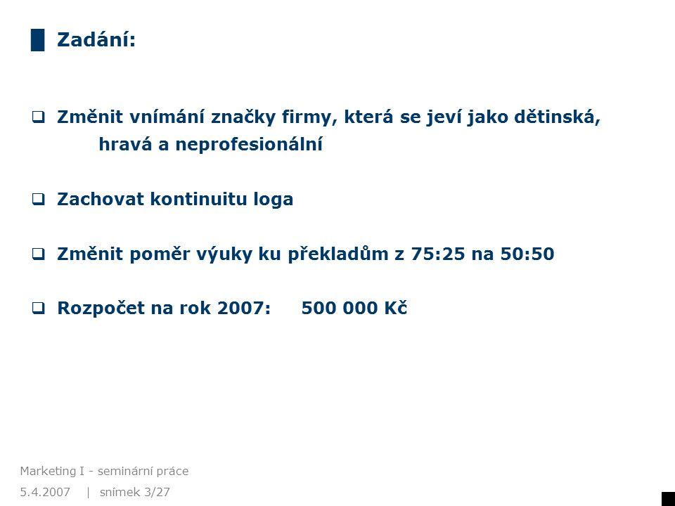 5.4.2007 Marketing I - seminární práce snímek 4/27 www.slune.cz Změna corporate identity Slůně Logo Název Barvy Corp.