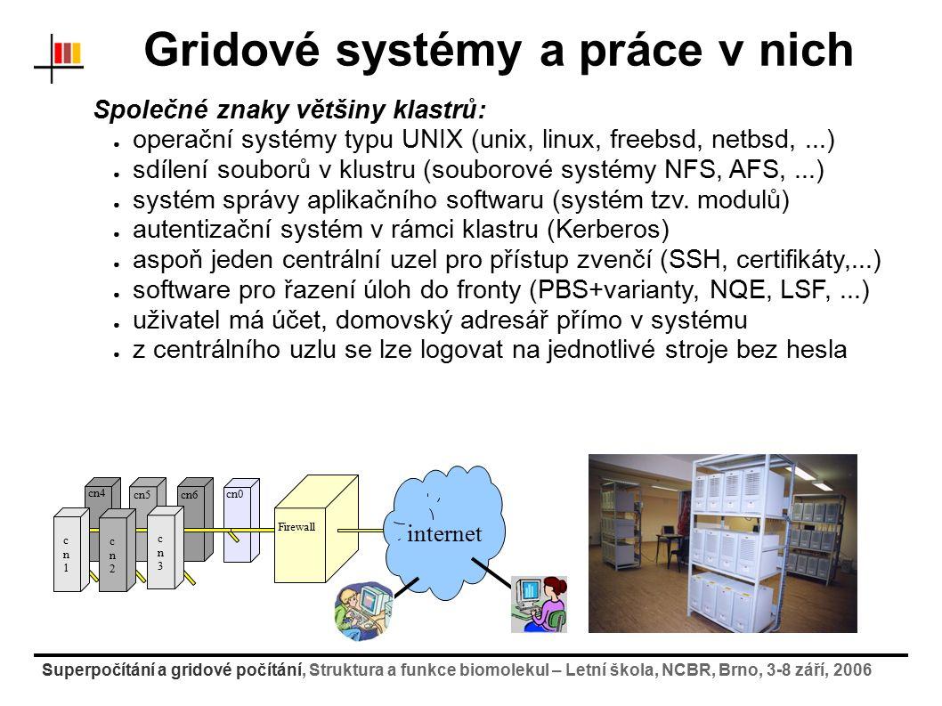 Superpočítání a gridové počítání, Struktura a funkce biomolekul – Letní škola, NCBR, Brno, 3-8 září, 2006 Gridové systémy a práce v nich Společné znak