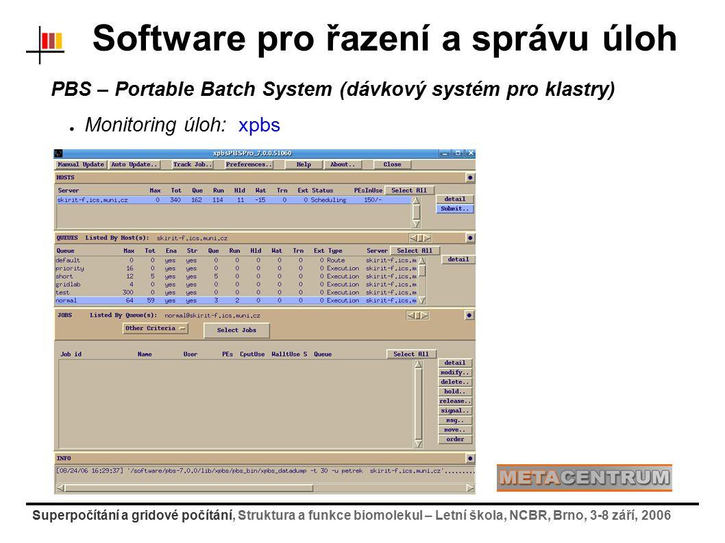 Superpočítání a gridové počítání, Struktura a funkce biomolekul – Letní škola, NCBR, Brno, 3-8 září, 2006 PBS – Portable Batch System (dávkový systém