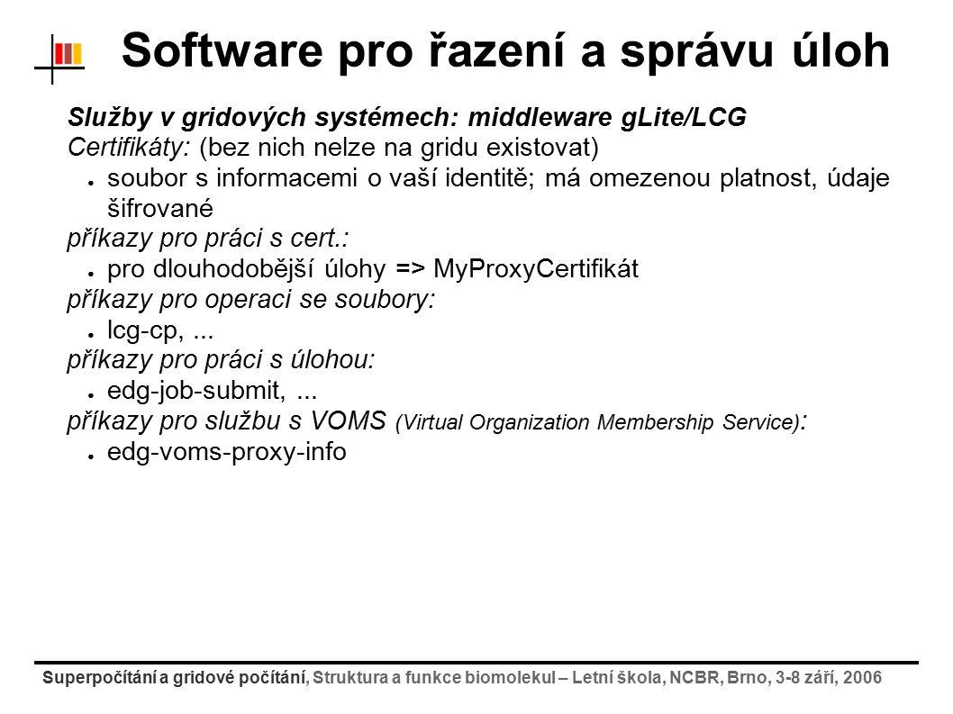 Superpočítání a gridové počítání, Struktura a funkce biomolekul – Letní škola, NCBR, Brno, 3-8 září, 2006 Software pro řazení a správu úloh Služby v g