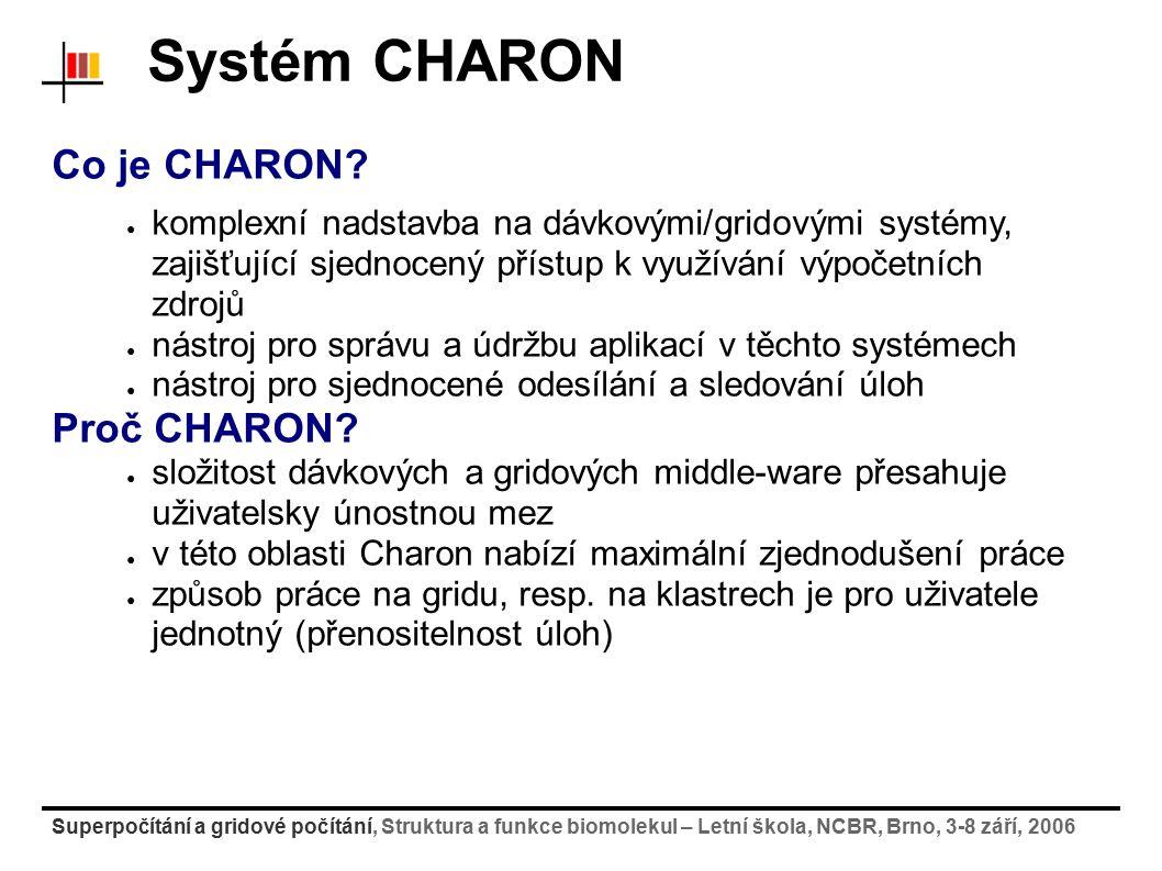 Superpočítání a gridové počítání, Struktura a funkce biomolekul – Letní škola, NCBR, Brno, 3-8 září, 2006 Systém CHARON Co je CHARON? ● komplexní nads