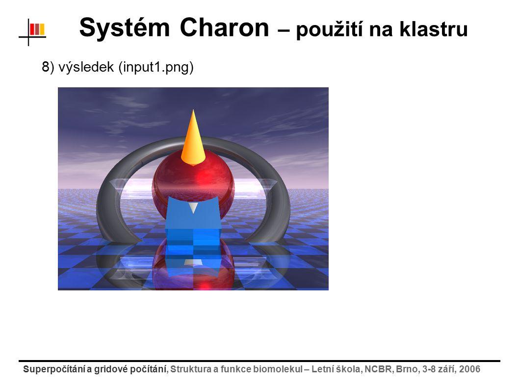 Superpočítání a gridové počítání, Struktura a funkce biomolekul – Letní škola, NCBR, Brno, 3-8 září, 2006 Systém Charon – použití na klastru 8) výsled