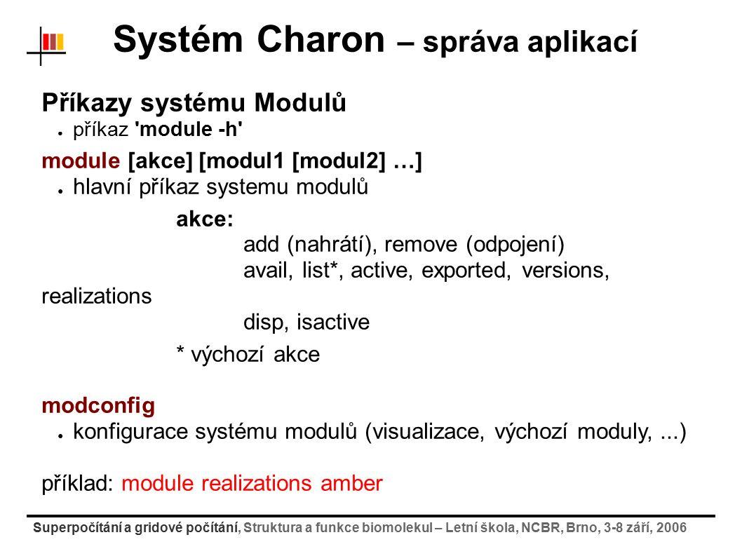 Superpočítání a gridové počítání, Struktura a funkce biomolekul – Letní škola, NCBR, Brno, 3-8 září, 2006 Systém Charon – správa aplikací Příkazy syst