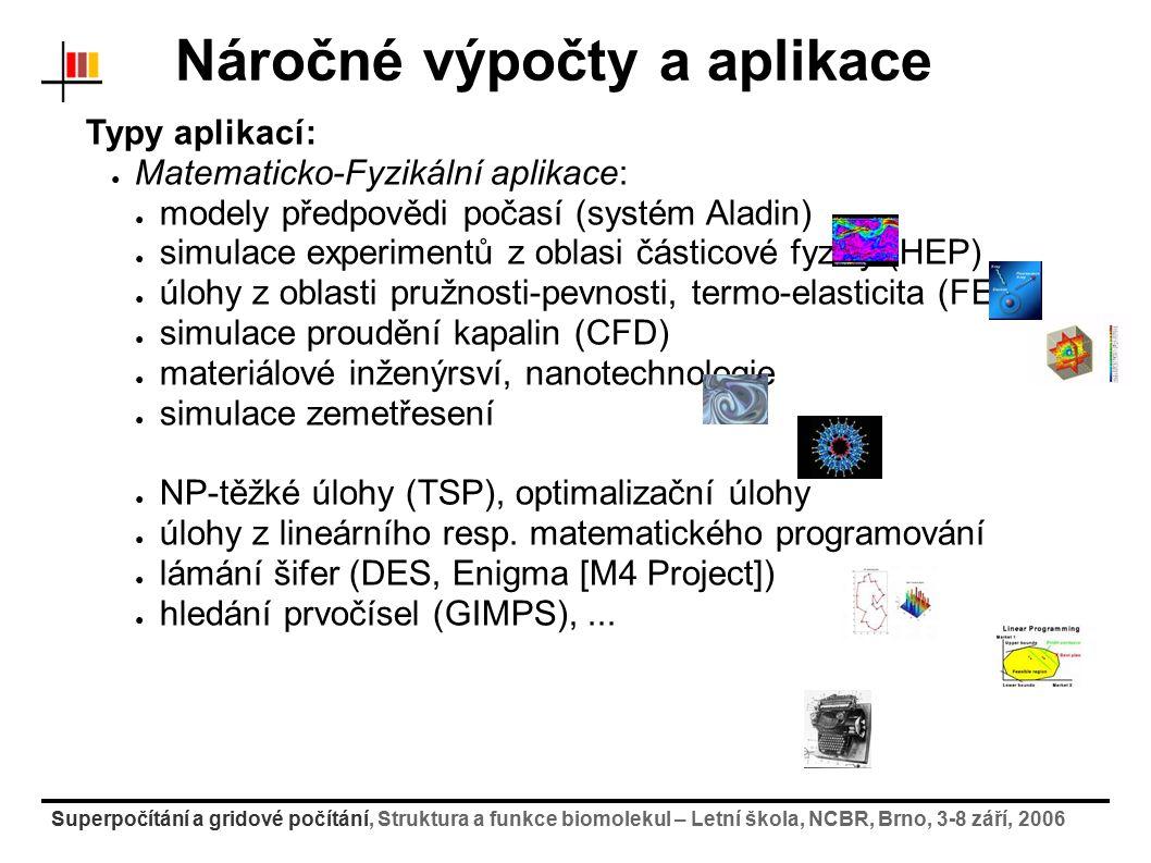 Superpočítání a gridové počítání, Struktura a funkce biomolekul – Letní škola, NCBR, Brno, 3-8 září, 2006 Software pro řazení a správu úloh Služby v gridových systémech: middleware gLite/LCG práce na gridu: 1) připojení z domácího stroje na User Interface (gsissh) 2) Inicializace certifikátů (myproxy-init-sc, myproxy-get- delegation) 3) Nahrátí vstupních dat na storage element (lcg-cp) ● služba vrátí identifikátor souboru na SE 4) Sestavení popisovacího skriptu pro úlohu (*.JDL) 5) Vlastní odeslání úlohy do gridu (edg-job-submit) ● služba vrátí identifikátor jobu 6) Sledování stavu úlohy (edg-job-status) 7) Stáhnutí výsledku ze storage elementu (lcg-cr)