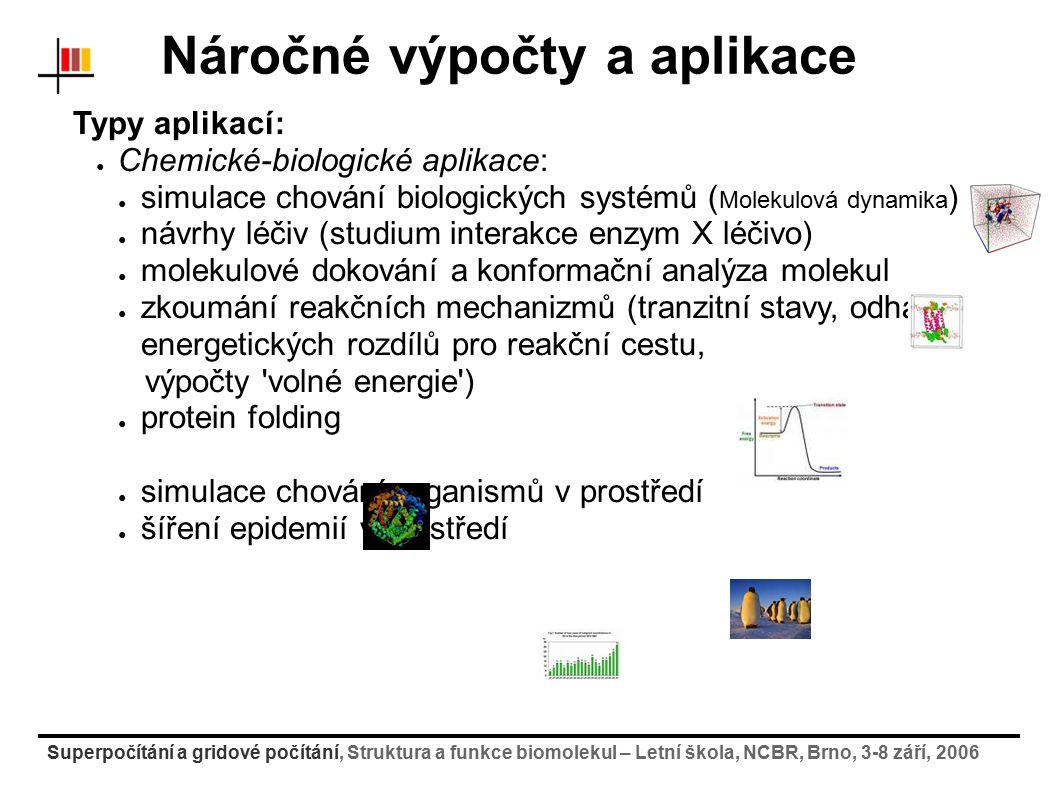 Superpočítání a gridové počítání, Struktura a funkce biomolekul – Letní škola, NCBR, Brno, 3-8 září, 2006 Náročné výpočty a aplikace Typy aplikací: ● Zpracování dat: ● lékařsví (CT-snímky, NMR, příznakové rozpoznávání) ● zpracování rozsáhlých statistik ● analýza a rozpoznávání obrazu ● HEP - částicové experimenty (ATLAS, CMS, Alice, LHCb) ● tvorba expertních systémů (AI) ● Visualizace dat ● renderování náročných scén ● Ostatní ● simulace sociálních a ekonomických jevů ●...a spousta dalších...
