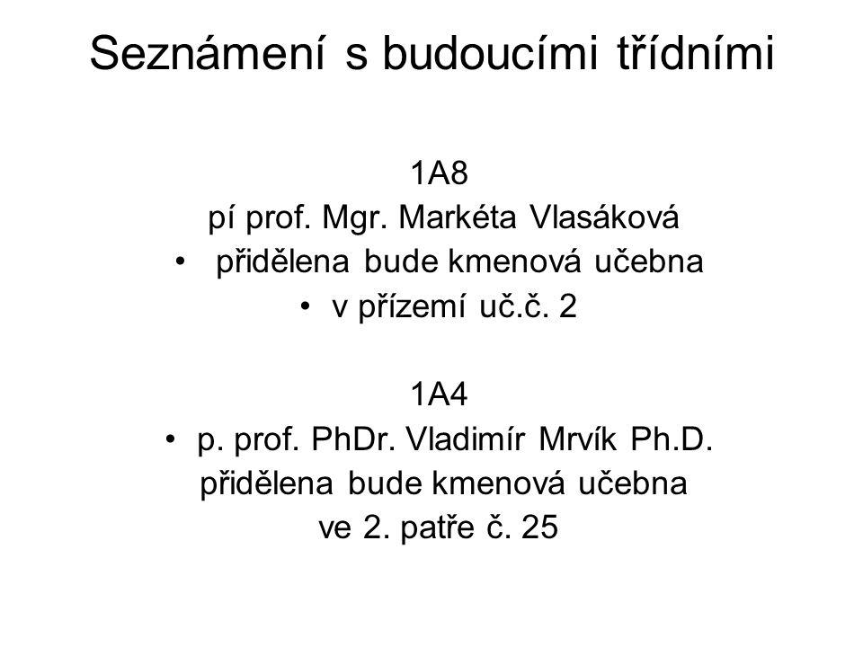 Seznámení s budoucími třídními 1A8 pí prof. Mgr. Markéta Vlasáková přidělena bude kmenová učebna v přízemí uč.č. 2 1A4 p. prof. PhDr. Vladimír Mrvík P