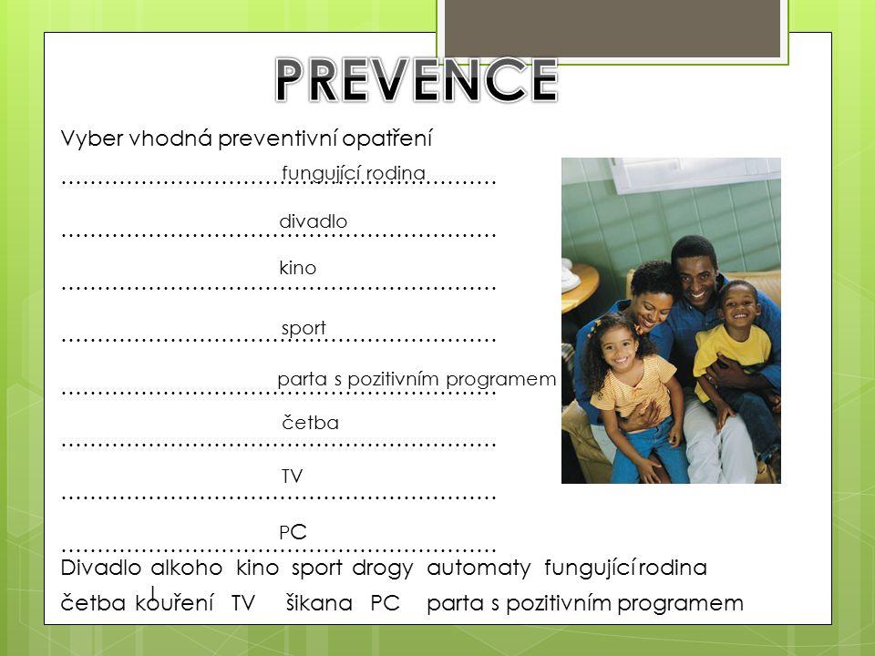 Divadlokinoalkoho l sportdrogyautomaty parta s pozitivním programemčetbakouřeníTVšikanaPC fungující rodina Vyber vhodná preventivní opatření …………………………………………………… fungující rodina divadlo kino sport parta s pozitivním programem četba TV PCPC
