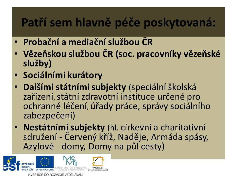 Patří sem hlavně péče poskytovaná: Probační a mediační službou ČR Vězeňskou službou ČR (soc.