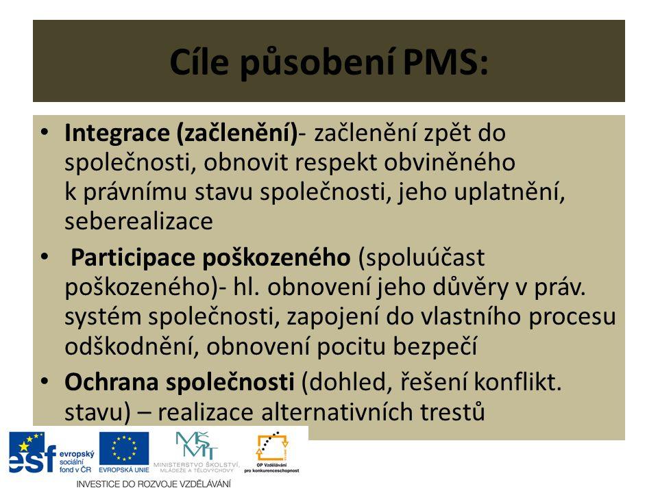 Cíle působení PMS: Integrace (začlenění)- začlenění zpět do společnosti, obnovit respekt obviněného k právnímu stavu společnosti, jeho uplatnění, seberealizace Participace poškozeného (spoluúčast poškozeného)- hl.