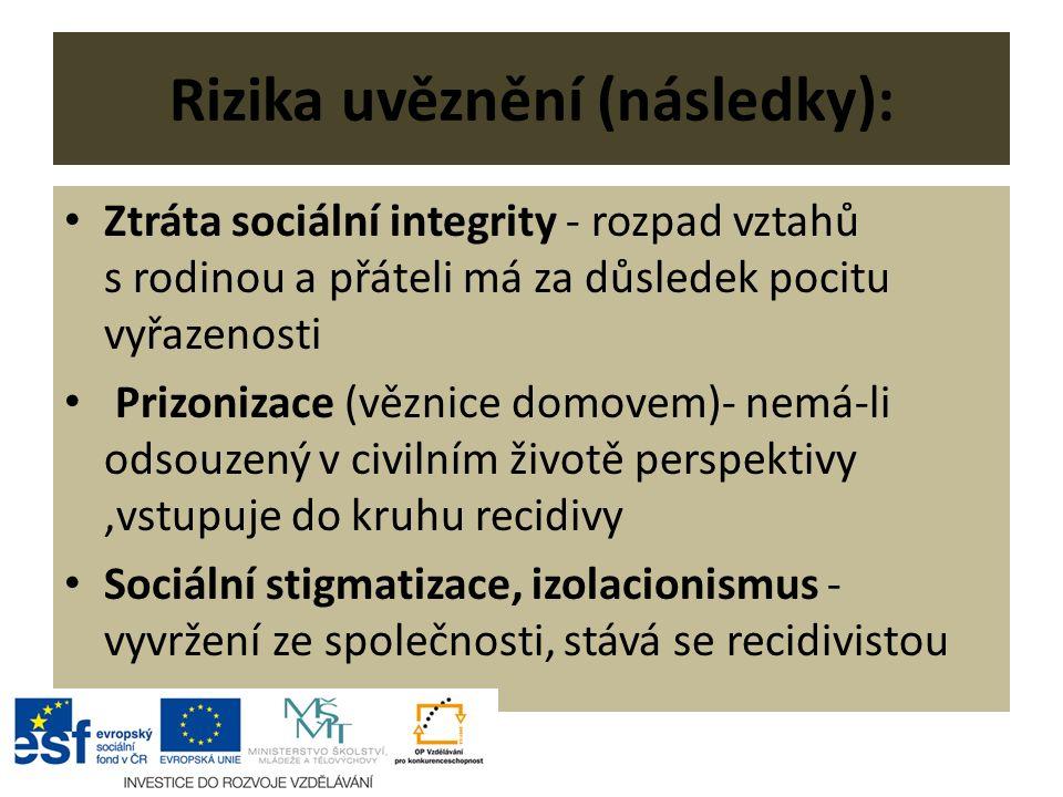 Rizika uvěznění (následky): Ztráta sociální integrity - rozpad vztahů s rodinou a přáteli má za důsledek pocitu vyřazenosti Prizonizace (věznice domovem)- nemá-li odsouzený v civilním životě perspektivy,vstupuje do kruhu recidivy Sociální stigmatizace, izolacionismus - vyvržení ze společnosti, stává se recidivistou