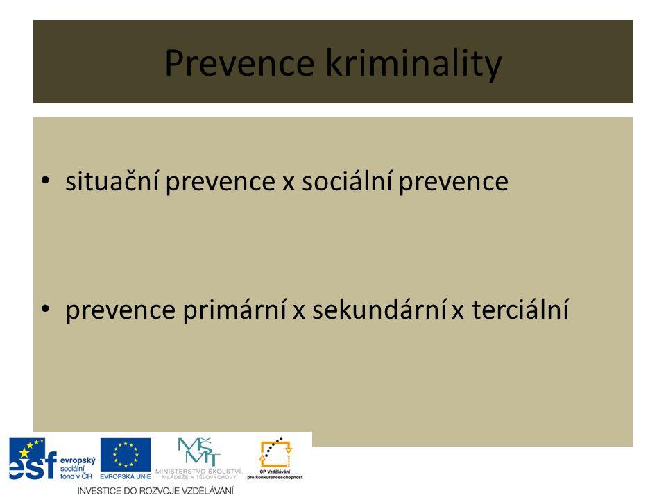 Prevence kriminality situační prevence x sociální prevence prevence primární x sekundární x terciální