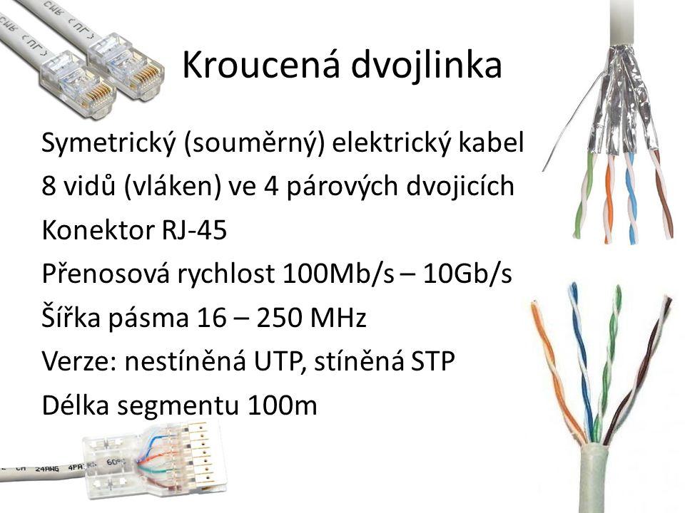Kroucená dvojlinka Symetrický (souměrný) elektrický kabel 8 vidů (vláken) ve 4 párových dvojicích Konektor RJ-45 Přenosová rychlost 100Mb/s – 10Gb/s Šířka pásma 16 – 250 MHz Verze: nestíněná UTP, stíněná STP Délka segmentu 100m
