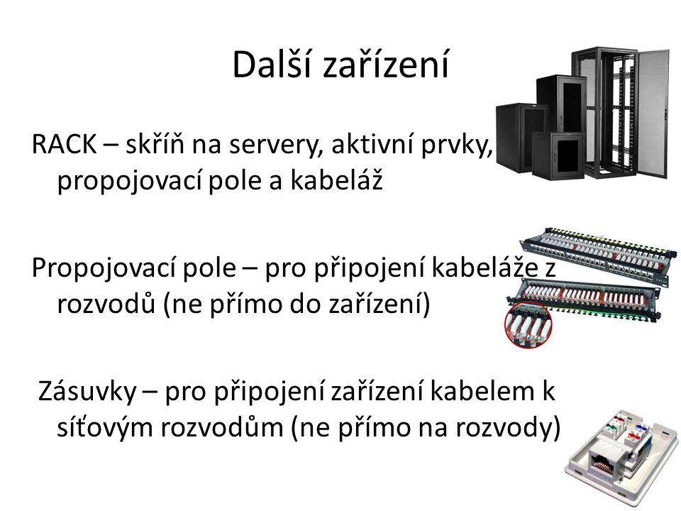 Další zařízení RACK – skříň na servery, aktivní prvky, propojovací pole a kabeláž Propojovací pole – pro připojení kabeláže z rozvodů (ne přímo do zařízení) Zásuvky – pro připojení zařízení kabelem k síťovým rozvodům (ne přímo na rozvody)