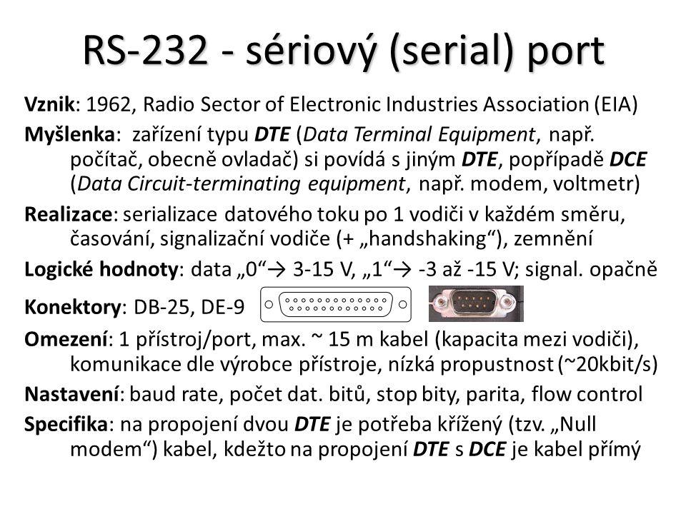 RS-232 - sériový (serial) port Vznik: 1962, Radio Sector of Electronic Industries Association (EIA) Myšlenka: zařízení typu DTE (Data Terminal Equipment, např.