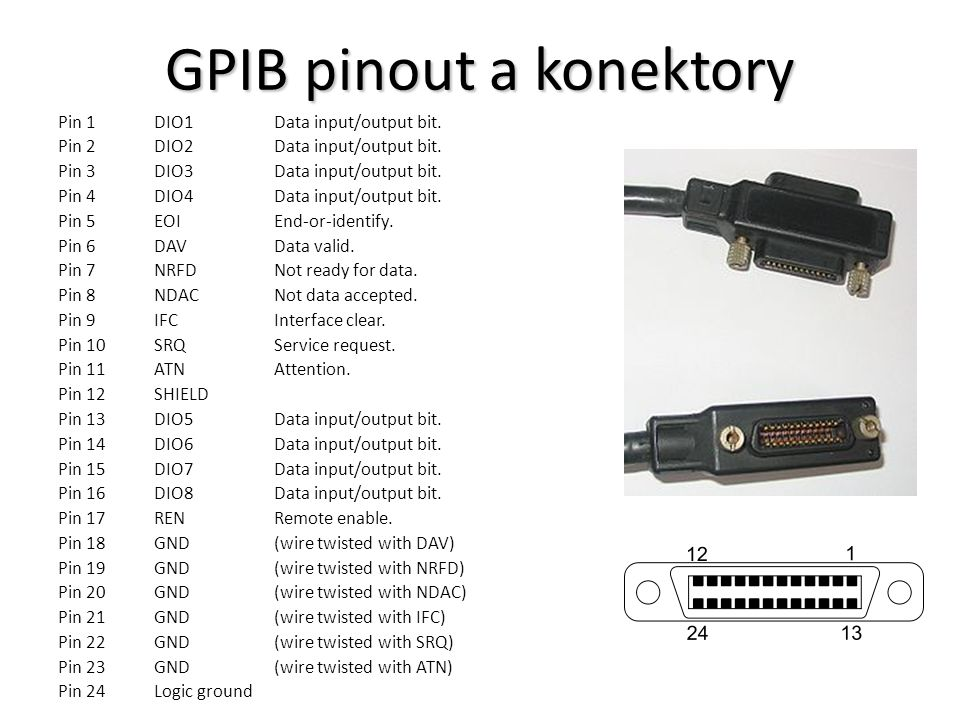 GPIB pinout a konektory Pin 1DIO1Data input/output bit. Pin 2DIO2Data input/output bit. Pin 3DIO3Data input/output bit. Pin 4DIO4Data input/output bit