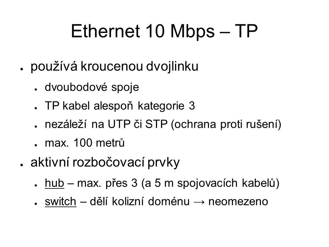 Ethernet 10 Mbps – TP ● používá kroucenou dvojlinku ● dvoubodové spoje ● TP kabel alespoň kategorie 3 ● nezáleží na UTP či STP (ochrana proti rušení) ● max.