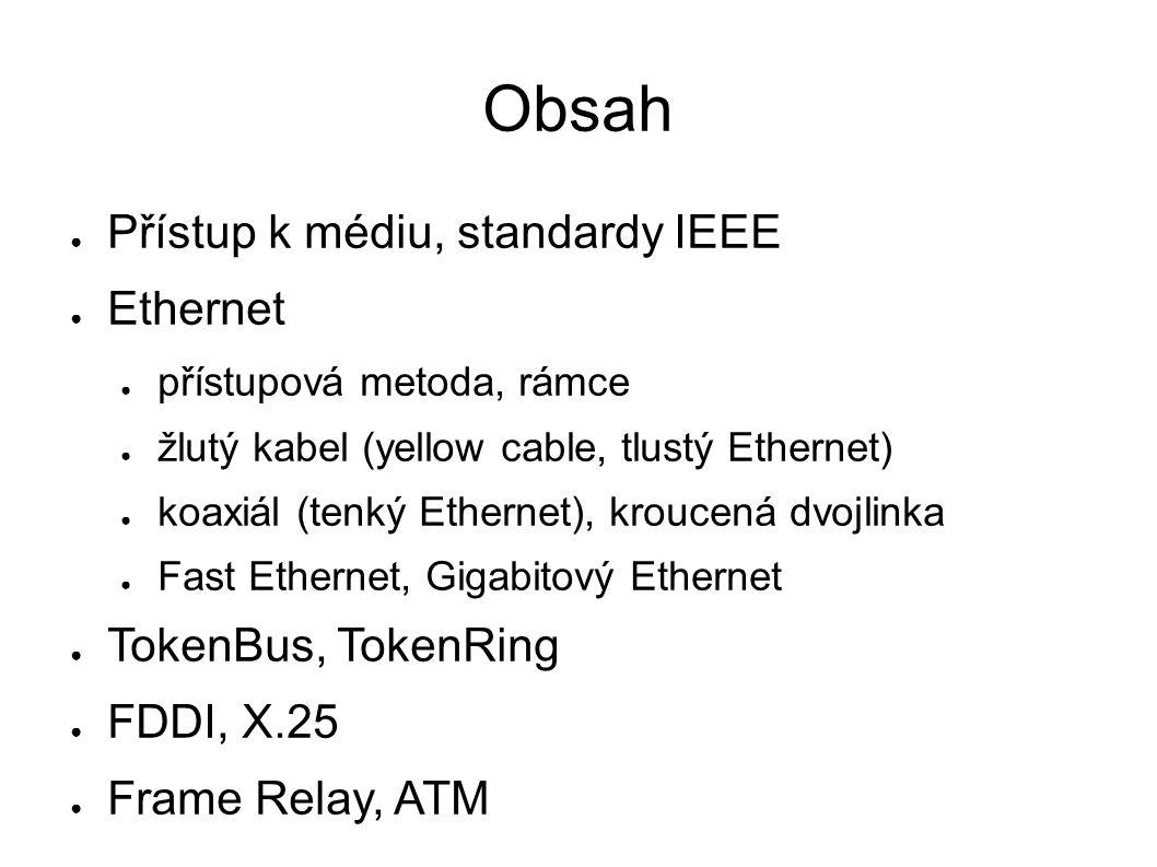 Obsah ● Přístup k médiu, standardy IEEE ● Ethernet ● přístupová metoda, rámce ● žlutý kabel (yellow cable, tlustý Ethernet) ● koaxiál (tenký Ethernet), kroucená dvojlinka ● Fast Ethernet, Gigabitový Ethernet ● TokenBus, TokenRing ● FDDI, X.25 ● Frame Relay, ATM