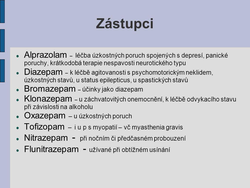 Zástupci Alprazolam – léčba úzkostných poruch spojených s depresí, panické poruchy, krátkodobá terapie nespavosti neurotického typu Diazepam – k léčbě