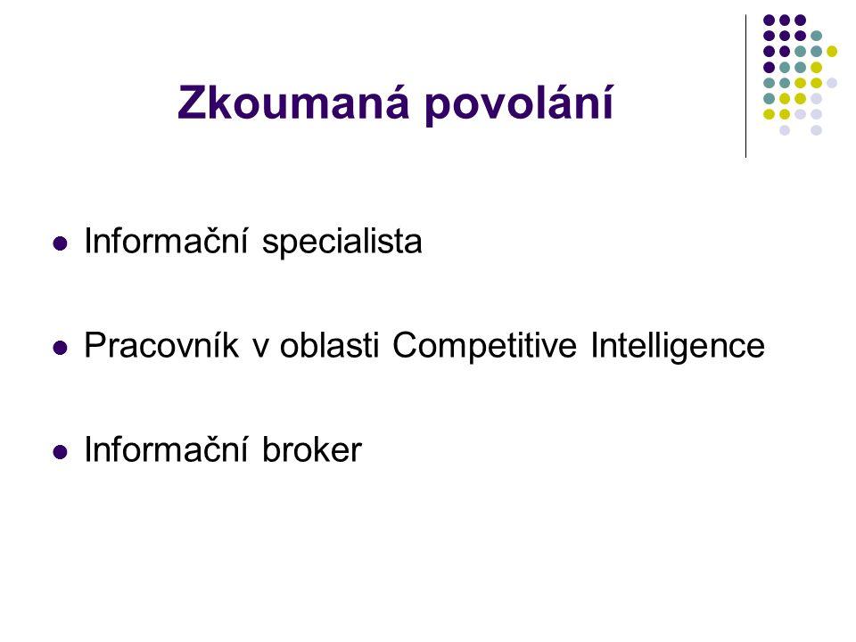 Competitive Intelligence Požadavky: minimálně maturita, ale více se upřednostňuje vysokoškolské vzdělání znalost angličtiny, žádoucí je i ruština znalost oblasti, ve které se pohybuje (např.