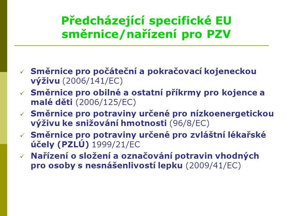 Předcházející specifické EU směrnice/nařízení pro PZV Směrnice pro počáteční a pokračovací kojeneckou výživu (2006/141/EC) Směrnice pro obilné a ostatní příkrmy pro kojence a malé děti (2006/125/EC) Směrnice pro potraviny určené pro nízkoenergetickou výživu ke snižování hmotnosti (96/8/EC) Směrnice pro potraviny určené pro zvláštní lékařské účely (PZLÚ) 1999/21/EC Nařízení o složení a označování potravin vhodných pro osoby s nesnášenlivostí lepku (2009/41/EC)